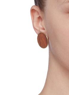 Philippe Audibert 'Naia' wood button clip earrings