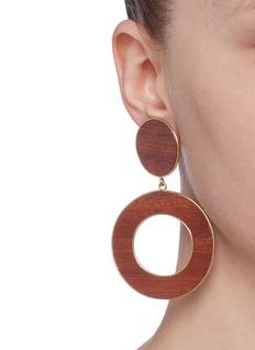 Philippe Audibert 'Naia' wood hoop drop clip earrings