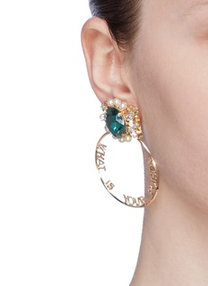 Anton Heunis Detachable Swarovski pearl crystal slogan hoop earrings