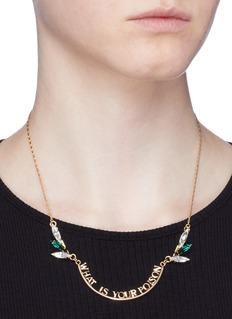 Anton Heunis Swarovski crystal slogan pendant necklace