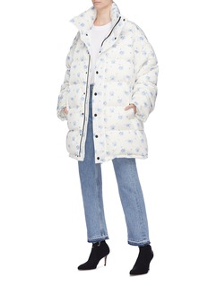 Balenciaga Retractable hood floral print oversized down puffer jacket