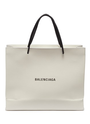 Main View - Click To Enlarge - Balenciaga - 'East-West' logo print medium leather shopping tote bag