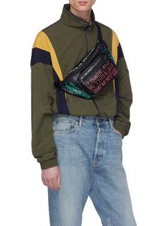 Balenciaga Explorer' graffiti print leather bum bag
