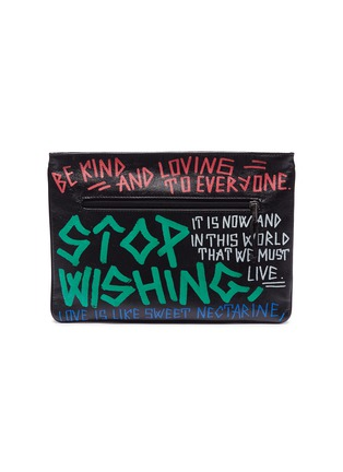Main View - Click To Enlarge - BALENCIAGA - 'Explorer' graffiti print leather pouch