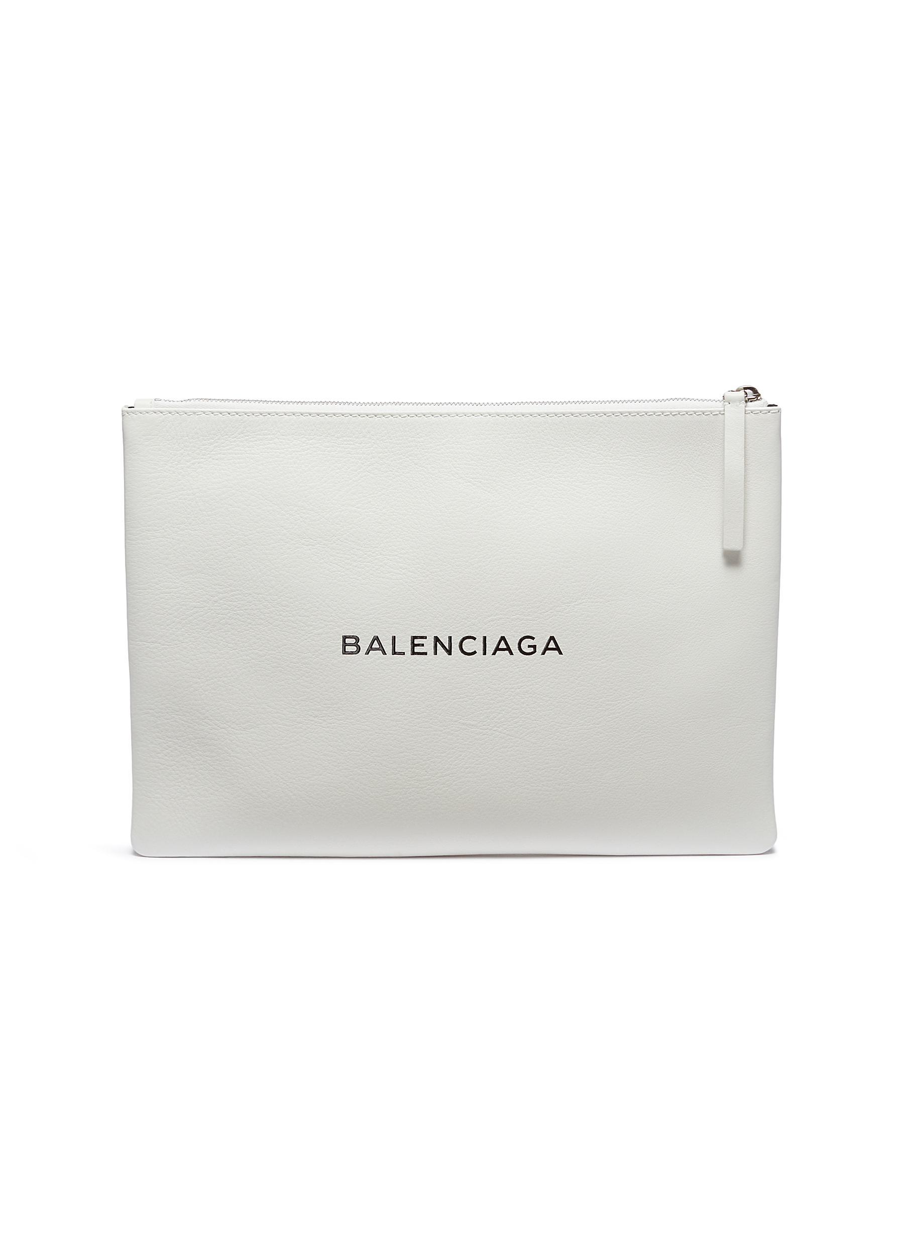 Balenciaga 'Everyday' Logo Print Leather Zip Pouch In White
