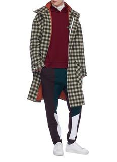 8ON8 Hooded gingham check wool duffle coat