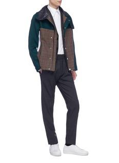 8ON8 Tartan plaid panel colourblock track jacket