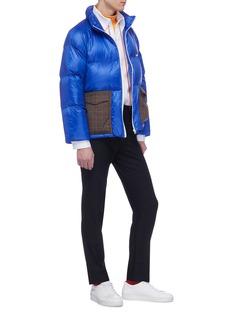 8ON8 Tartan plaid pocket down puffer jacket