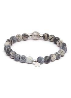 Tateossian 'Stonehenge' spiderweb jasper silver bead bracelet