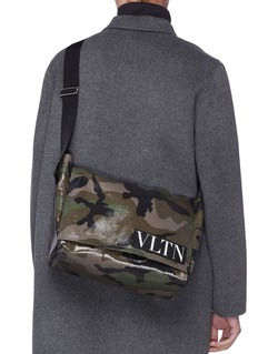 Valentino Logo patch camouflage print coated canvas messenger bag