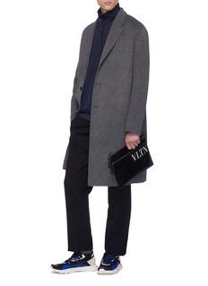 Valentino Logo patch twill zip pouch