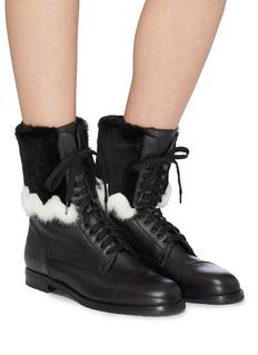 Manolo Blahnik 'Campcha' mink rabbit fur trim combat boots