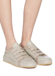JIL SANDER NAVY Deconstructed textile hook and loop strap leather sneakers
