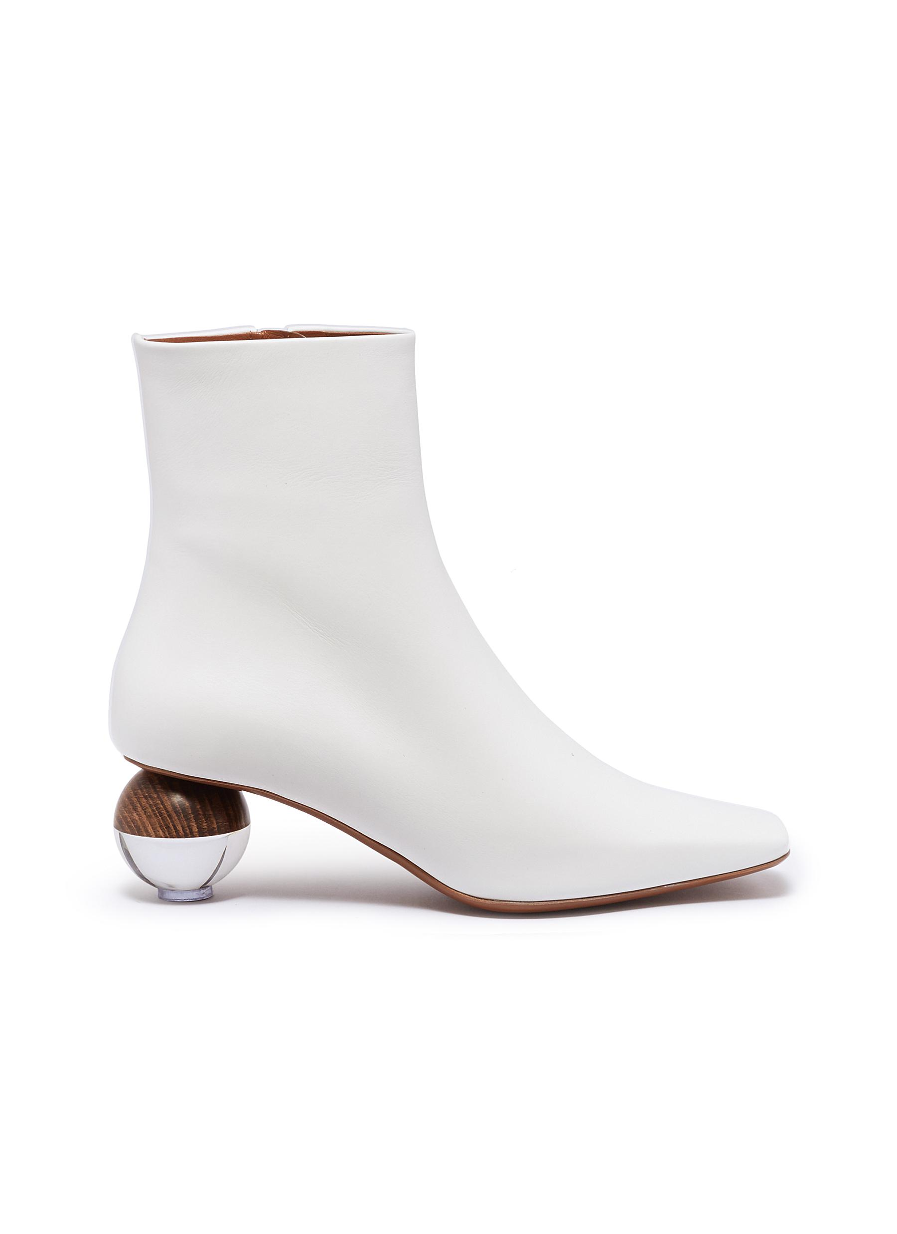 Encyclia sphere heel leather ankle boots by NEOUS