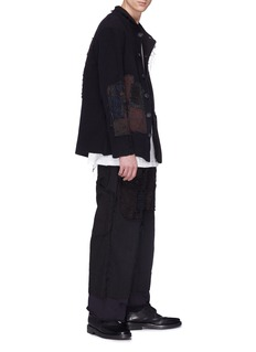 By Walid Patchwork linen jogging pants