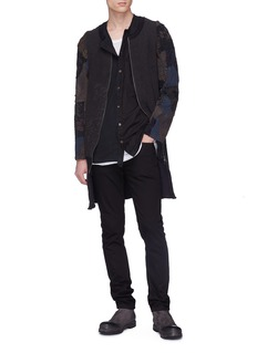 By Walid Reconstructed patchwork silk-cotton zip cardigan