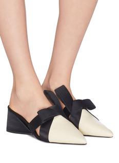 Mercedes Castillo 'Blanche Mid' satin bow colourblock leather mules