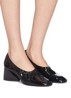 Mercedes Castillo 'Emilia Mid' ruched patent leather pumps