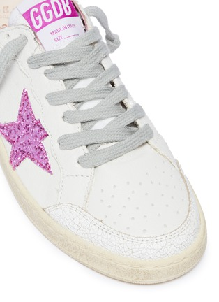 Detail View - Click To Enlarge - Golden Goose - 'Ball Star' glitter cracked panel leather kids sneakers