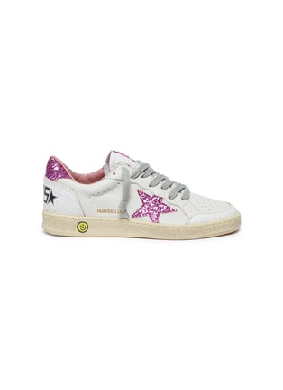 Main View - Click To Enlarge - GOLDEN GOOSE - 'Ball Star' glitter cracked panel leather kids sneakers
