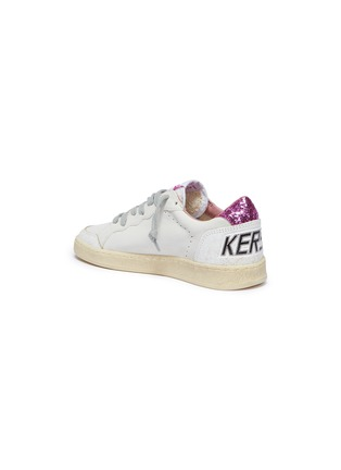 Figure View - Click To Enlarge - Golden Goose - 'Ball Star' glitter cracked panel leather kids sneakers