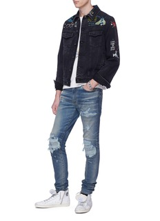 Amiri 'MX1' pleated patch ripped skinny jeans