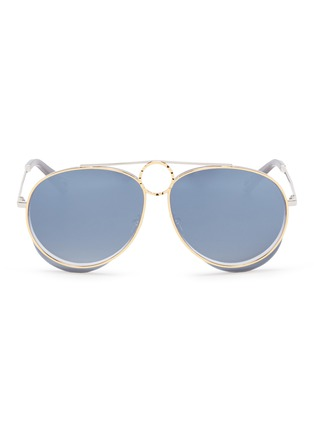 Main View - Click To Enlarge - Chloé - 'Romie' cutout circle mirror metal aviator sunglasses