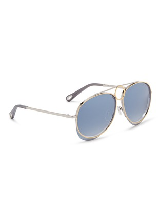 Figure View - Click To Enlarge - Chloé - 'Romie' cutout circle mirror metal aviator sunglasses