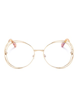 Main View - Click To Enlarge - Chloé - 'Carlina' overlap wire rim round optical glasses