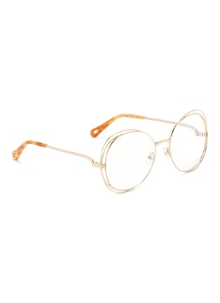 Figure View - Click To Enlarge - Chloé - 'Carlina' overlap wire rim round optical glasses