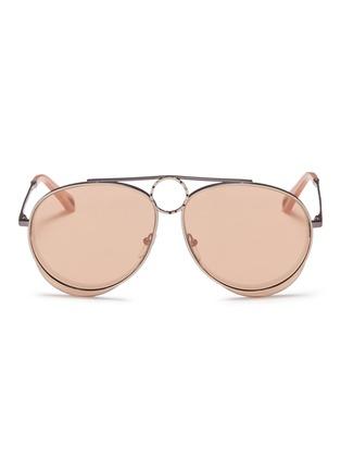 Main View - Click To Enlarge - Chloé - 'Romie' cutout circle mirror metal aviator sunglasses