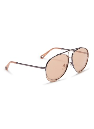 Figure View - Click To Enlarge - Chloé - 'Romie' cutout circle mirror metal aviator sunglasses