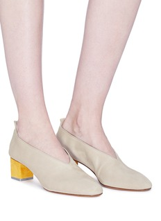 Gray Matters 'Mildred' cube heel choked-up suede pumps
