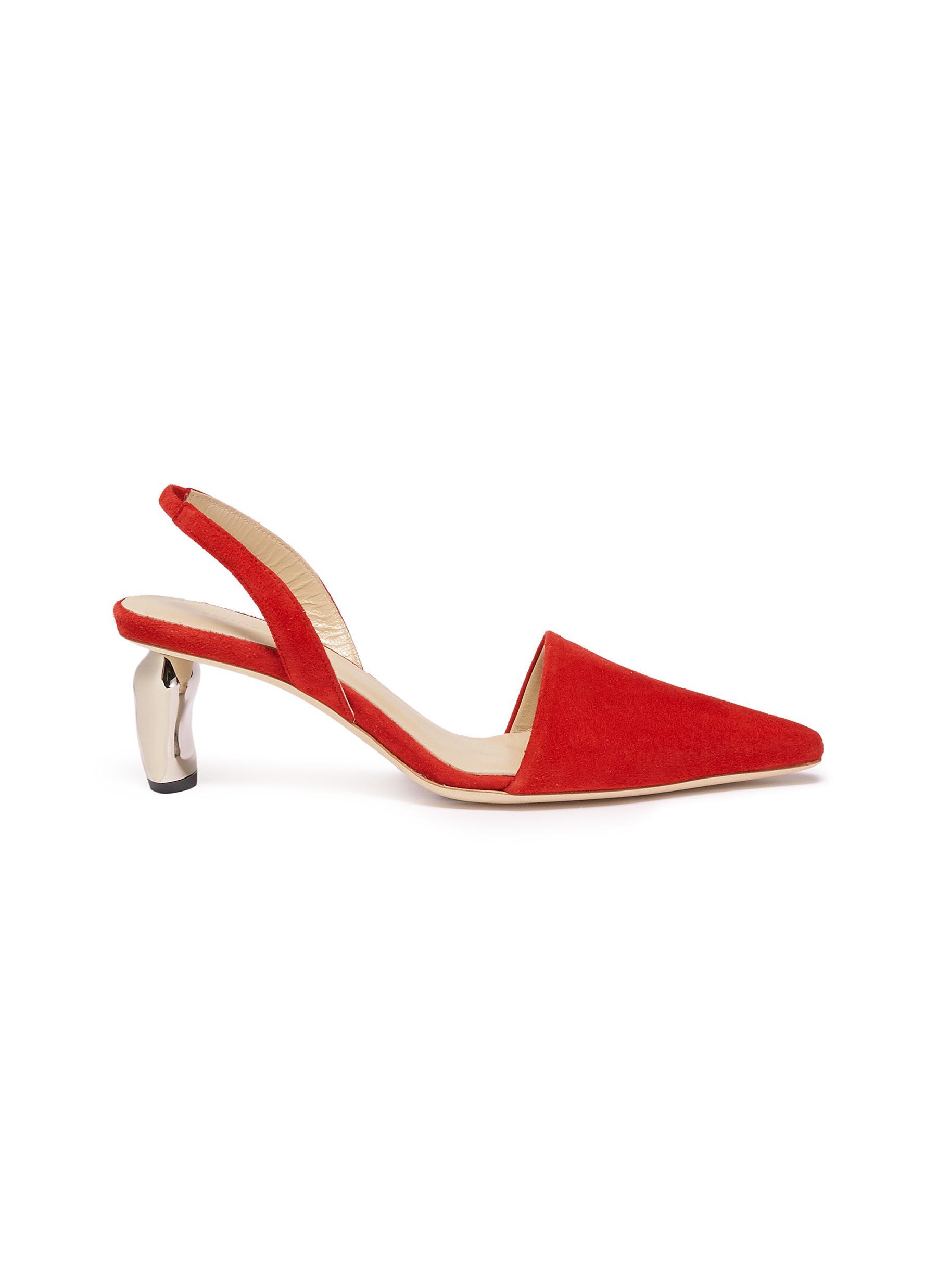Conie sculptural heel suede slingback pumps by Rejina Pyo