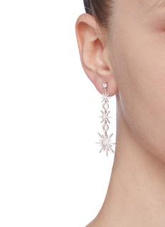 CZ by Kenneth Jay Lane Cubic zirconia pavé starburst link drop earrings