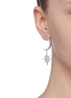 CZ by Kenneth Jay Lane Cubic zirconia pavé moon and starburst drop earrings