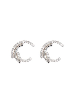 Main View - Click To Enlarge - CZ BY KENNETH JAY LANE - Cubic zirconia swirl stud earrings