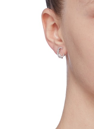 Figure View - Click To Enlarge - CZ BY KENNETH JAY LANE - Cubic zirconia swirl stud earrings