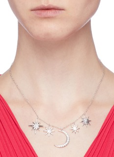CZ by Kenneth Jay Lane Cubic zirconia moon and starburst pendant necklace
