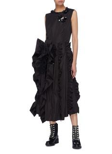 Moncler Genius x Simone Rocha ruched ruffle stripe sleeveless dress