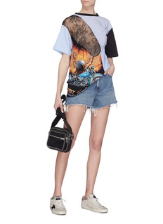 DRY CLEAN ONLY 'Rider' Chantilly lace stripe graphic print panel T-shirt