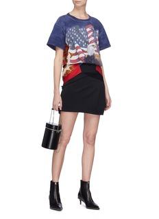 DRY CLEAN ONLY 'American Eagle' mesh yoke graphic print panel T-shirt