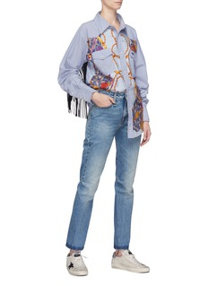 DRY CLEAN ONLY Fringe panel graphic print panel shirt