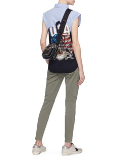 DRY CLEAN ONLY Stripe shirt panel graphic print sleeveless top