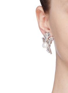 Erickson Beamon 'Knights' Swarovski crystal glass pearl stud earrings
