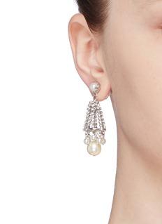 Erickson Beamon 'Knights' Swarovski crystal glass pearl drop earrings