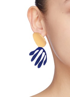OOAK 'Abstract Leaf' mismatched detachable drop earrings