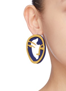 OOAK 'Portrait Silhouette' detachable layered single earring