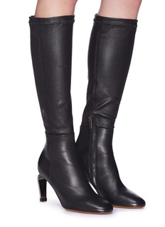 Robert Clergerie 'Meline' metal heel stretch nappa leather knee high boots