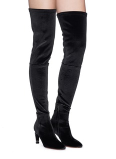 Robert Clergerie 'Meliset' metal heel stretch velvet thigh high boots